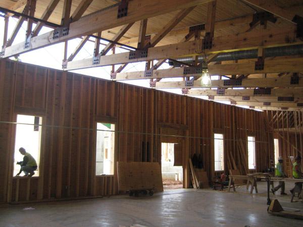 Monastic heritage center jones pierce for Clerestory roof truss design
