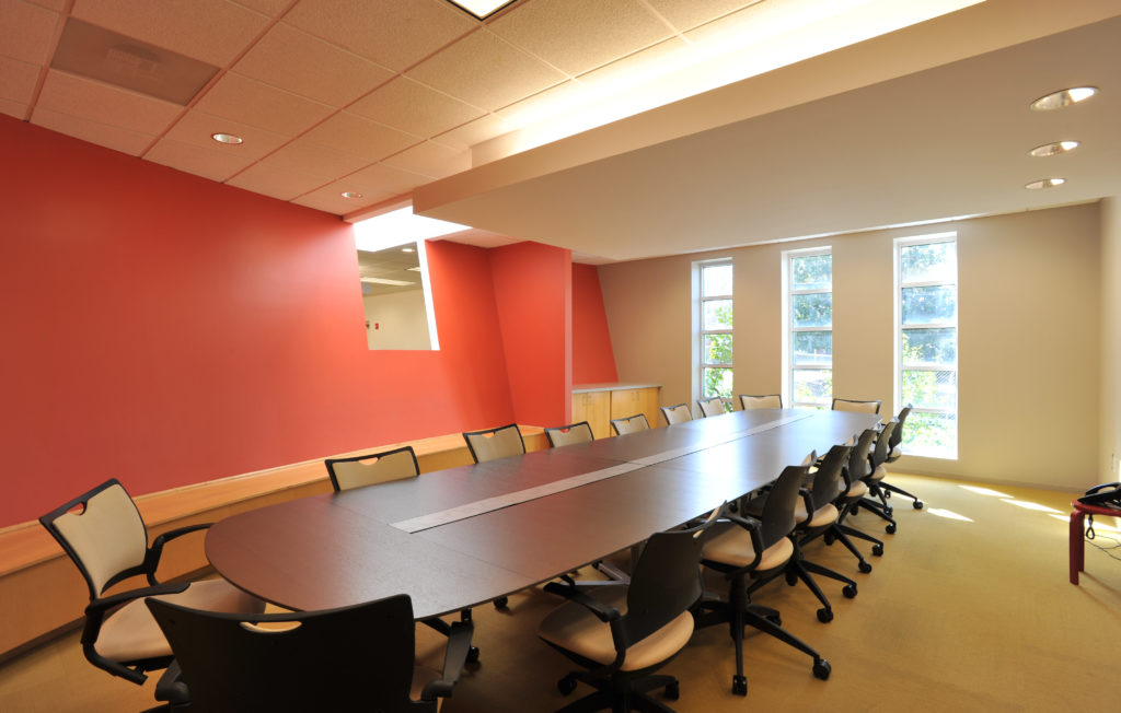 A large table in a conference room.