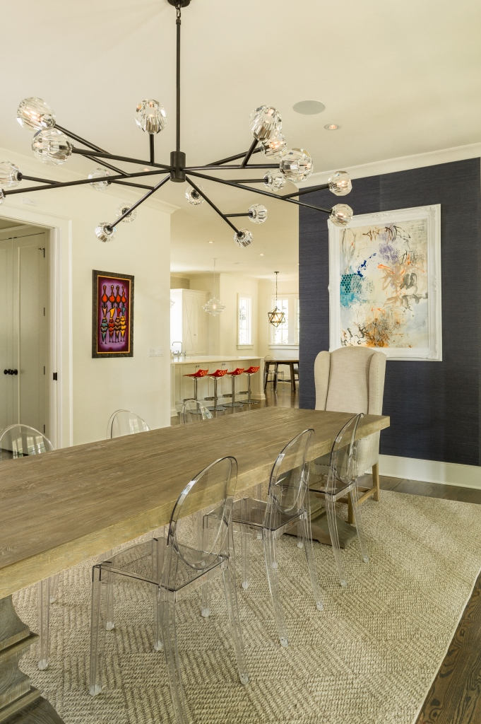 The 2017 Atlanta Urban Design Commission. Modern dining room with accent wall.