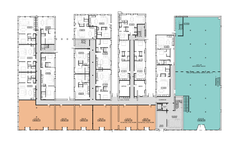 Proposed plan floor design for the first level. Jones Pierce Architects. Empire Hotel. Historic Preservation Adaptive Reuse.