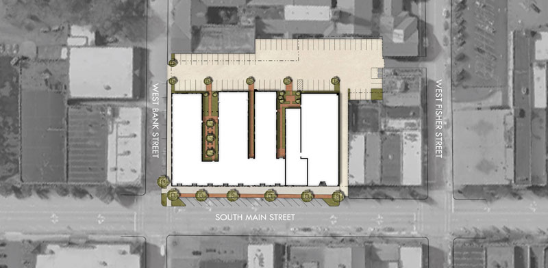 Proposed site plan design for the Empire Hotel Redevelopment. Jones Pierce Architects. Historic Preservation Adaptive Reuse