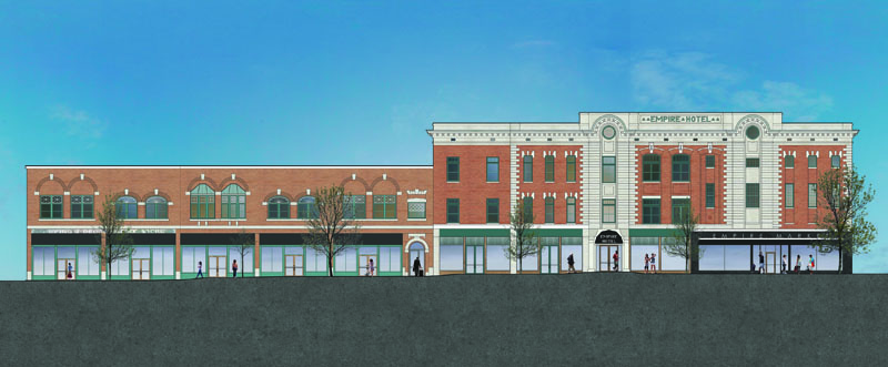 Jones Pierce Architects Proposed design elevation for the Empire Block and the Empire Hotel facade along South Main Street. Historic Preservation Adaptive Reuse