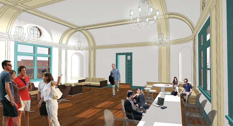 Jones Pierce Architects Proposed design of club room/ amenity area for apartment residents located in the existing Hotel Ballroom.