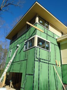 Picture showing zip wall on a house under construction. Home Improvement