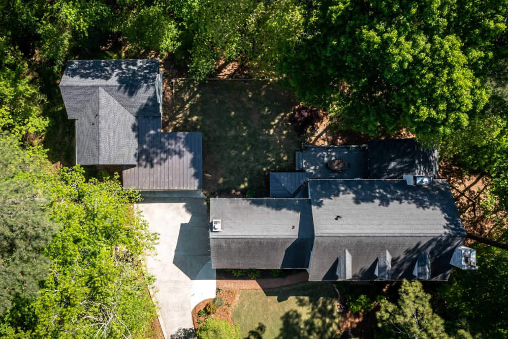 aerial view of an atlanta home renovation project