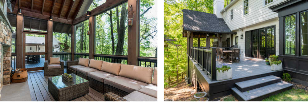 inside and outside view of screened porch