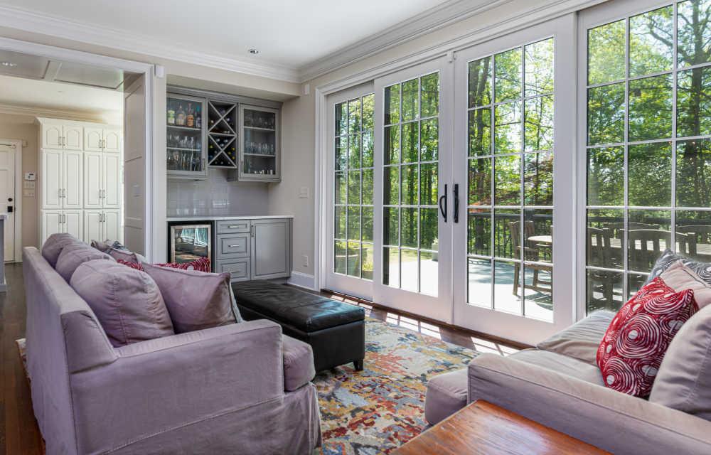 sliding glass doors off of family room